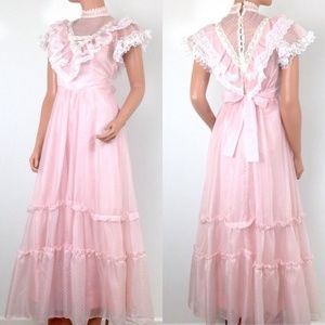 VTG prairie prom dress pastel pink swiss dot